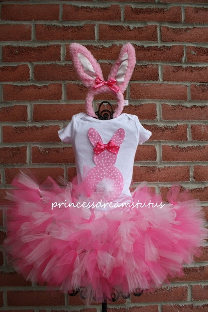 3D Easter Bunny Tutu outfit with fluffy by PrincessDreamsTutus, $50.00