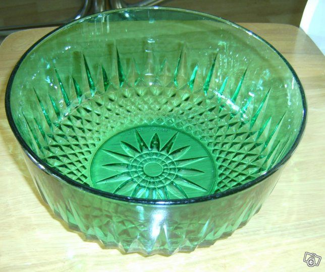 Vintage Arcoroc France smaragdinvihreä lasikulho