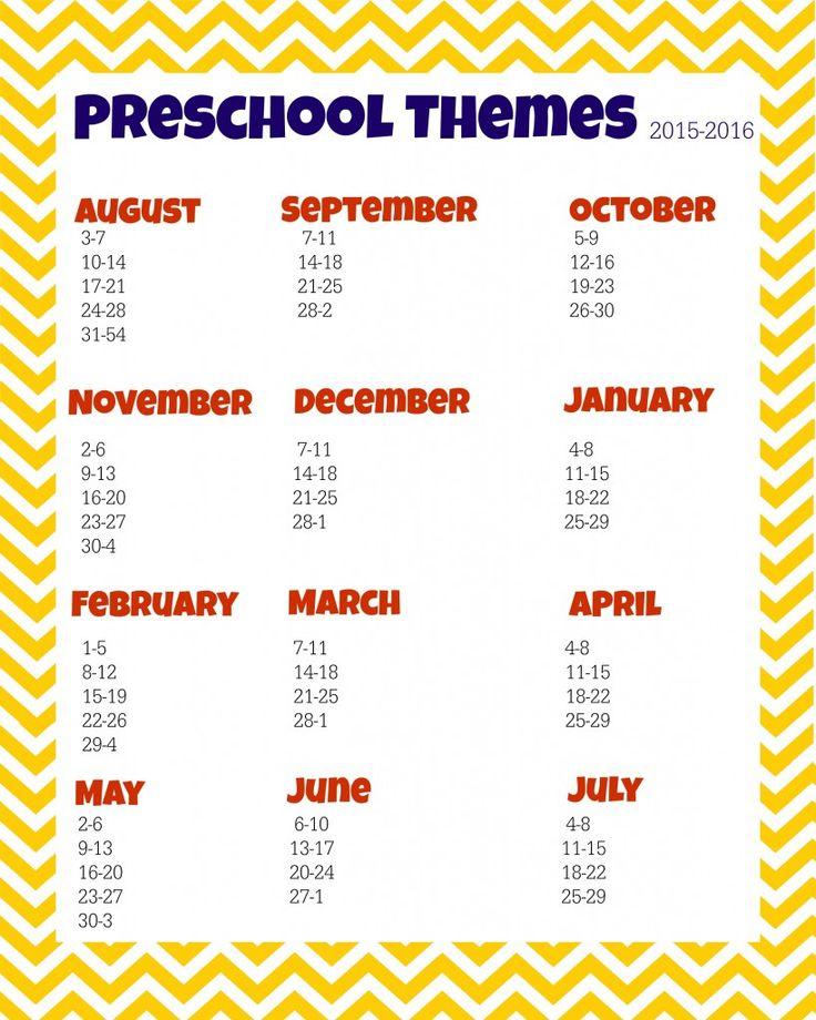 preschool themes planner