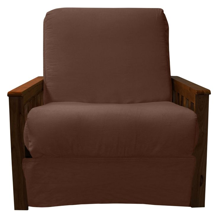 Mission Perfect Convertible Futon Sofa Sleeper   Walnut Finish Wood Arms    Chocolate Brown Upholstery