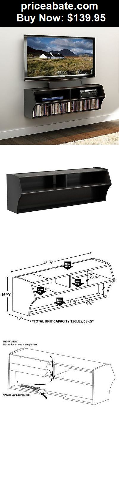 Furniture: TV Stand Wall Mount Floating Entertainment Center Television DVD Media Storage - BUY IT NOW ONLY $139.95