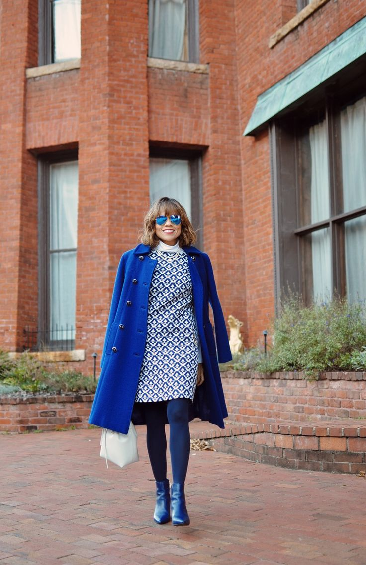 How to wear bright blue to work.