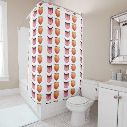 Valentine Emoji Tongue Peach Shower Curtain