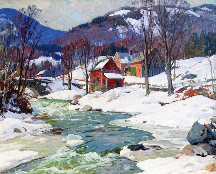 """ALDRO HIBBARD Vermont Winter Landscape Oil on Canvas 34"""" x 36"""""""