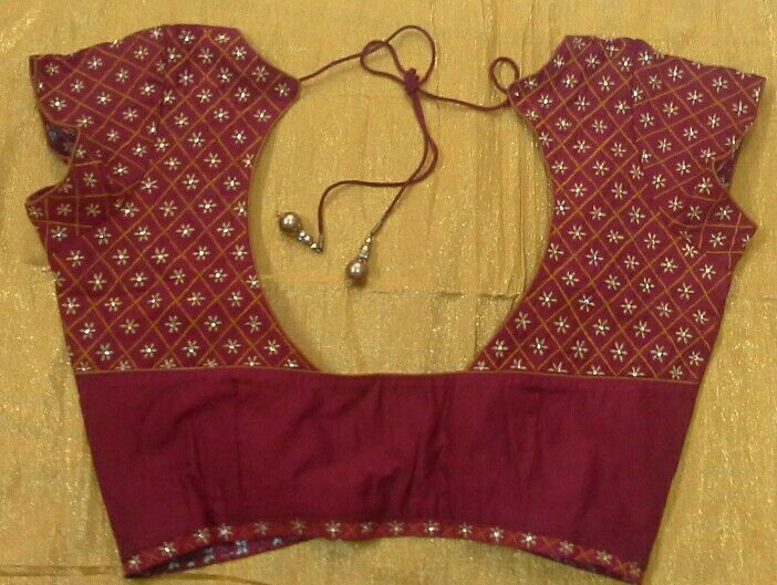 Pattu blouse with machine embroidery 91 9866583602