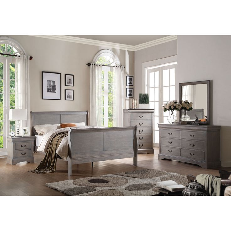 Acme Furniture Louis Philippe Iii 4 Piece Antique Grey Bedroom Set 4 Piece Twin Set Antique Gray
