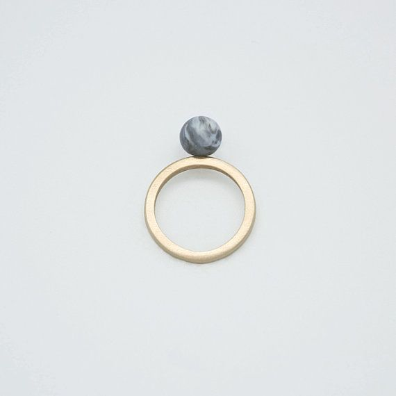 SOLO n.4 // Marbled Porcelain and Bronze Ring