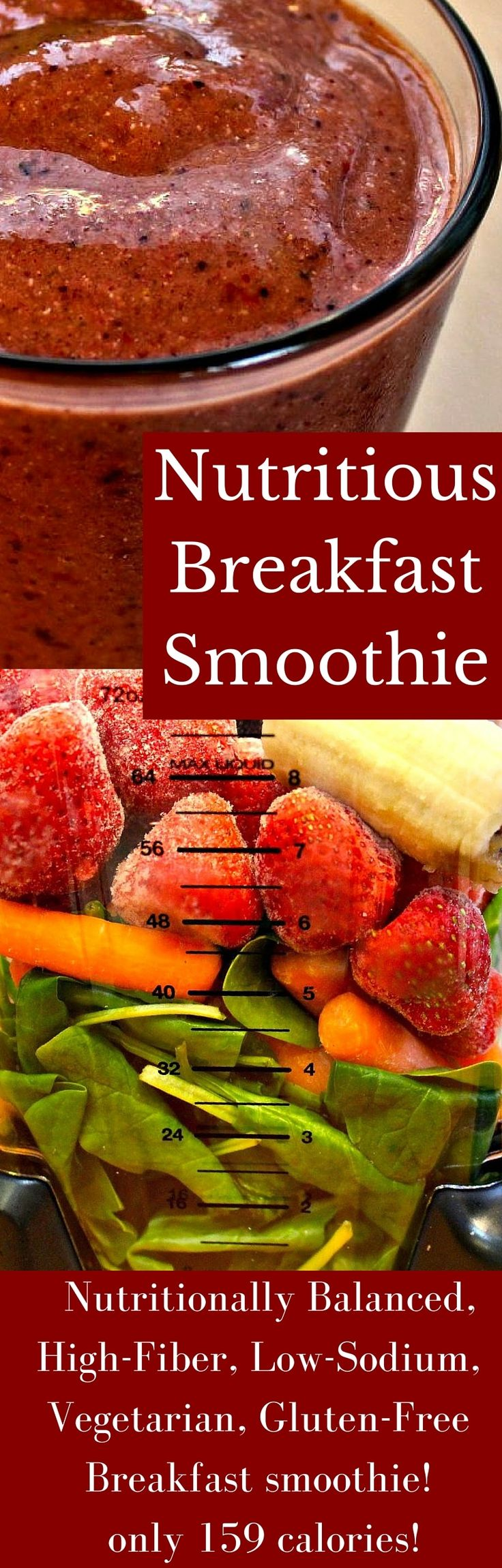A nutritious breakfast smoothie to help you kickstart your day into full gear! This Nutritionally Balanced, High-​Fiber, Low-​Sodium, Vegetarian, Gluten-​Free Breakfast smoothie has only 159 calories! #smoothies #healthy #breakfast #healthyfood #healthybreakfastideas #nutritious