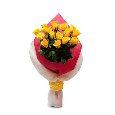 Cute bunch of 15 #Yellow #Roses in a White and Red Color Paper packing with yellow ribbon. http://www.fnp.com/flowers/friendship-day-flowers/thinking-of-you-exdfnp42/--clI_2-cI_2824-pI_23612-i_23202.html