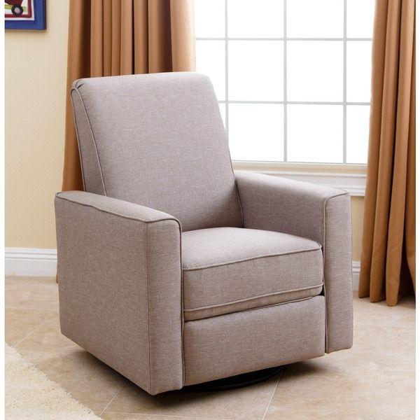 ABBYSON LIVING Hampton Light Taupe Grey Nursery Swivel Glider Recliner Chair
