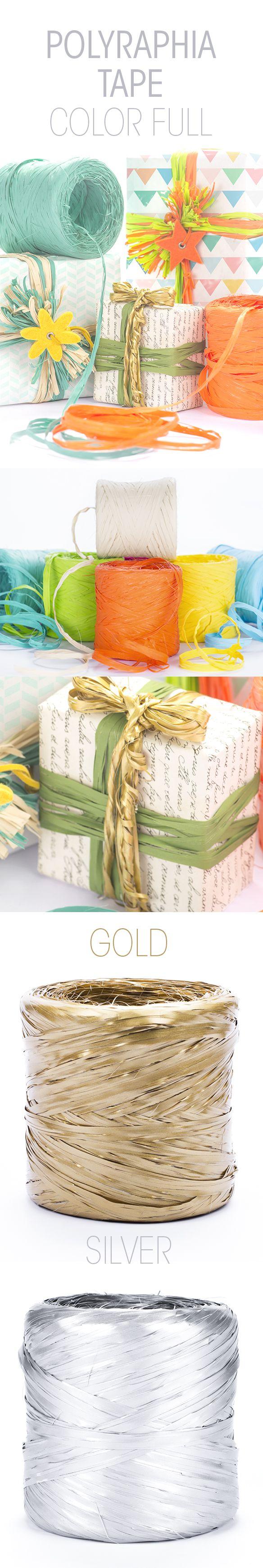 Usa i Nastri decorativi Polyraphia per vivacizzare il tuo packaging. Scegli tra una varietà di tanti colori brillanti da combinare con la tua carta regalo preferita.