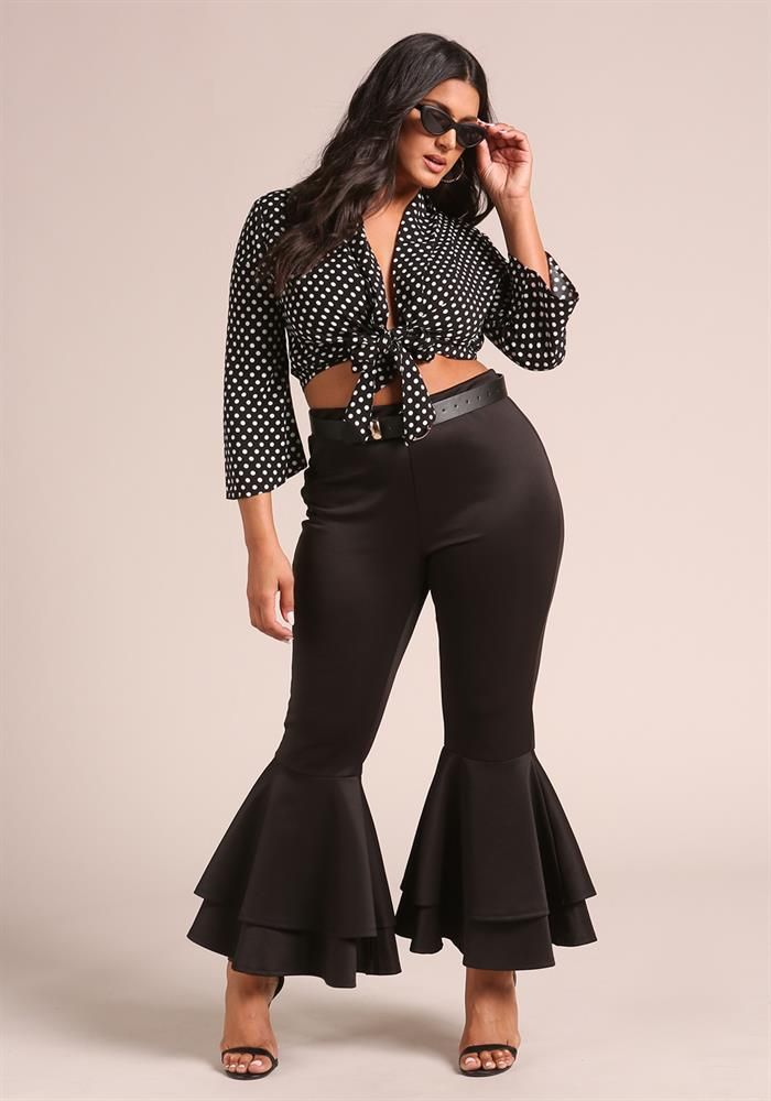Plus Size Clothing Plus Size Tiered Bell Bottom Dress Pants
