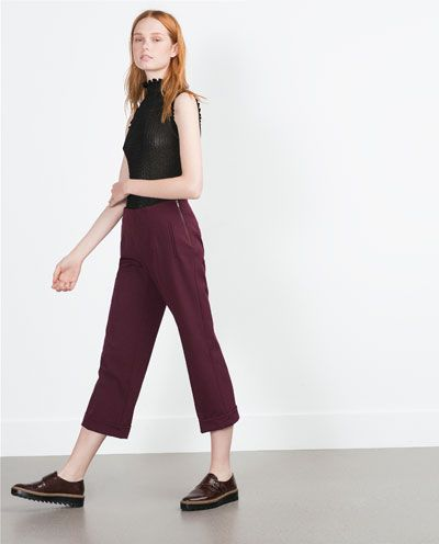 Image 3 of CROPPED TROUSERS from Zara