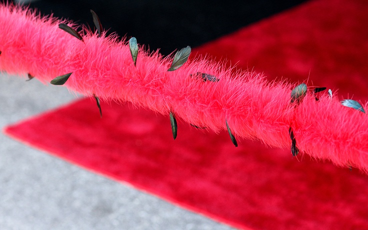 Red Ribbon? Too Plain. Houston Avenue Bar & Grill opted for a red & black feather boa for the ceremonial cutting instead!