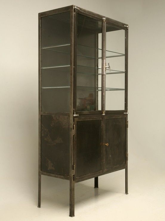 Vintage Metal and Glass Cabinet