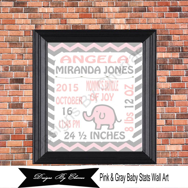 Pink and Gray Baby Stats, Wall Art, Birth Announcements, 8 x 10 for Girls Nursery Room, Kids Room Décor, Digital Wall Art, Chevron Wall Art by DesignsByCherrae on Etsy #digitalprint #instantdownload #wallart #babystats #birthannouncement #sipandsee #nurserywallart