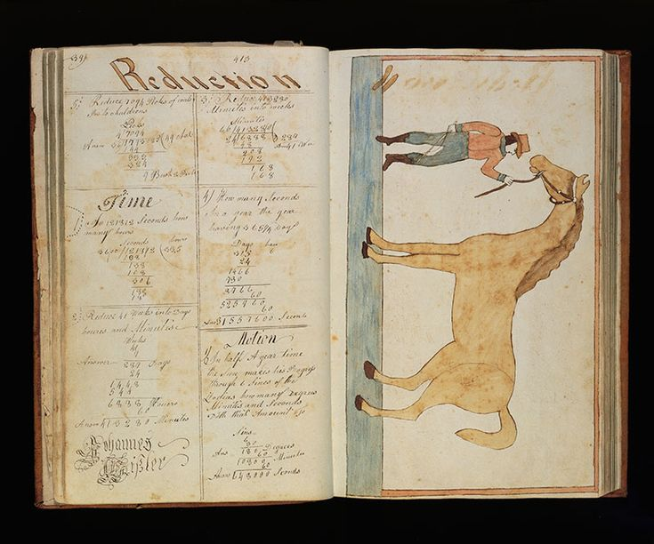 """Book of Arithmetic Problems of Johannes Whisler Johannes Whisler (1795-1874) Encoders    Mifflin Township, Pennsylvania 1814–1815 Watercolor and ink on paper, with leather binding 13 x 8 1/8 x 1 15/16"""" Collection American Folk Art Museum, New York"""