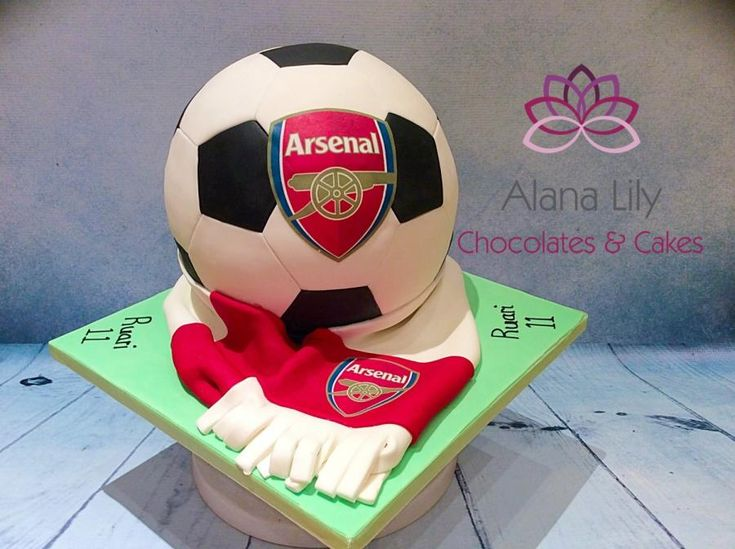 Completely spherical football cake - Arsenal - Cake by Alana Lily Chocolates & Cakes