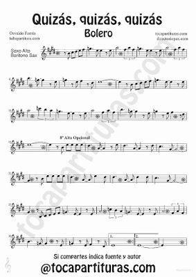 Quizás quizás quizás de Osvaldo Forrés partitura para Saxofón Alto y Barítono Música de Boleros