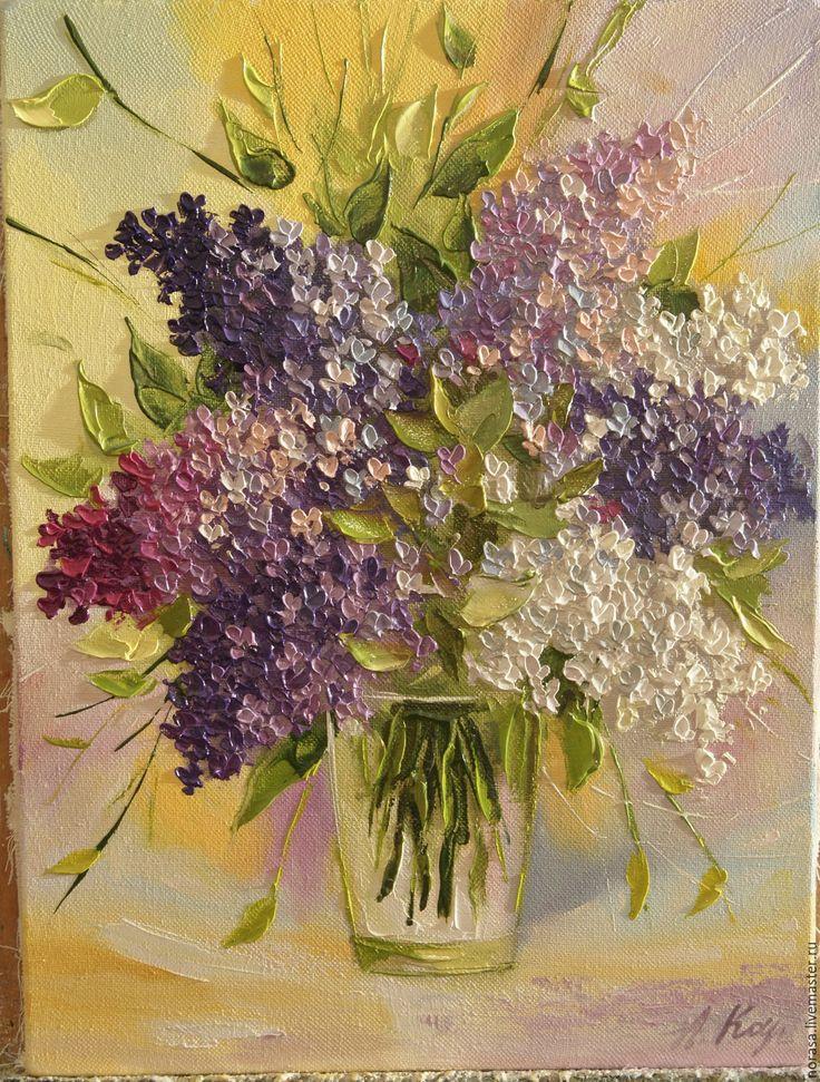 Купить Сирень в вазе - разноцветный, картина, картина в подарок, картина для интерьера, картина маслом, сирень