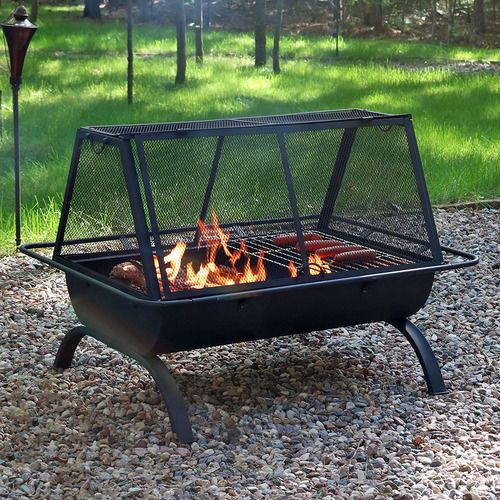 Sunnydaze Northland Large Backyard Patio Grill Fire Pit W/ Cover And Tool  #Sunnydaze