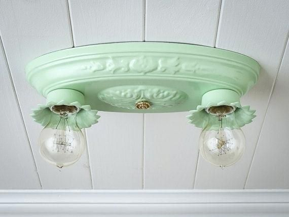 1940s Light Fixtures Vintage Rewired Flush Mount Ceiling Fixture 2 Bulb Jadeite Br Porcelain Farmhouse Bedroom Kitchen