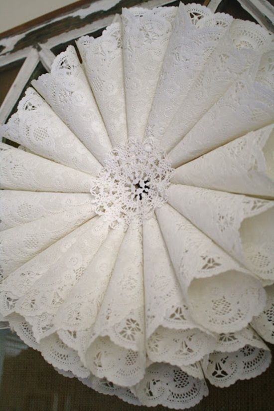 Here are some creative ways to use paper doilies. Anyone you would like to try? They all look very beautiful.Paper Doily Wedding Chandelier: this easy and beautiful doily chandelier, the perfect addition to any reception decor. (source here) Paper Doily Lanterns:(source here) Paper Doily Flower: (source here) Paper Doily Menus:Paper doilies make a lovely background for your dinner menu, …