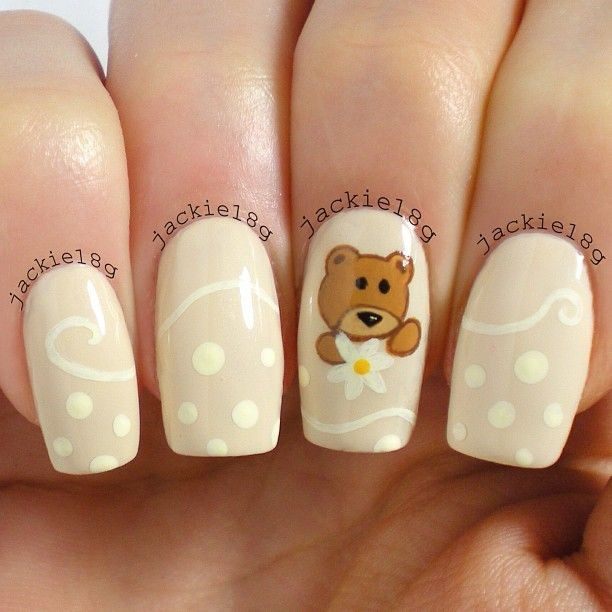 Cute bear nail art manicure by Jackie18g