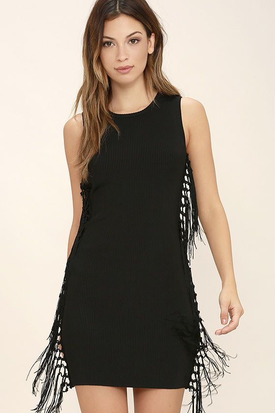 Black dress with fringes
