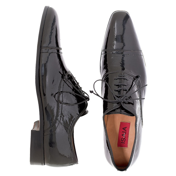 Made-to-measure patent leather dress shoes, Isaia. Photo: Robert Mitra.