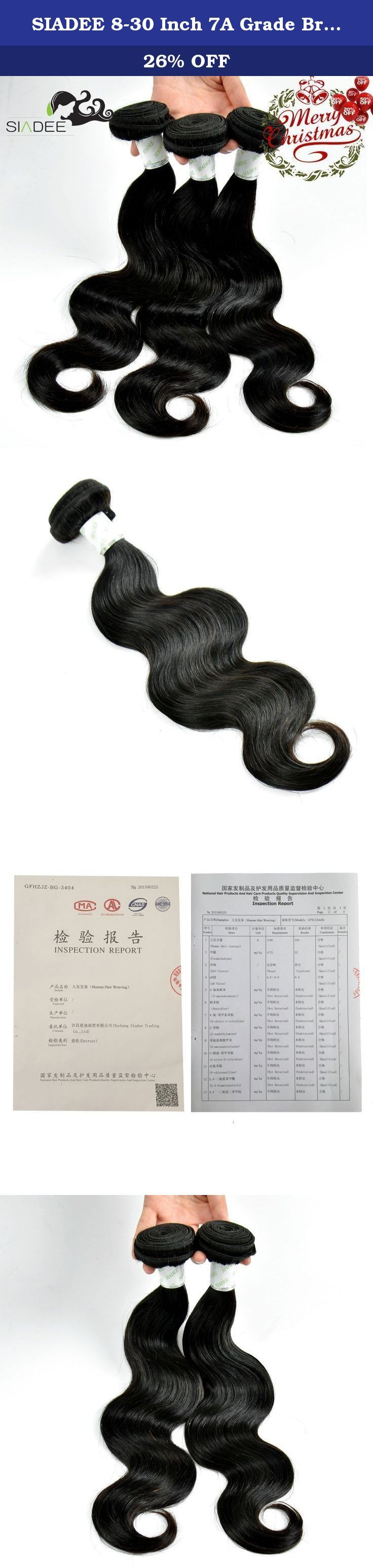 SIADEE 8-30 Inch 7A Grade Brazilian Virgin Human Hair Extensions Body Wave, Pack of 3, 100g/bundle, Natural Color Hair Bundles (8 8 8). SIADEE Factory Manufacturing Best Price-Quality 100% Brazilian Human Virgin Hair Bundles Brazilian Hair Virgin Human Hair 3 Bundles Info: 1)Brand: SIADEE 2)Materials: 100% Human Hair 3)Quantity: 3 Bundles in one Box, Per Bundle is 95~105g. 4)Color: Natural Color 5)Hair Style: Body Wave 6)Hair Grade:7a Virgin Human Hair 8)Quality: No tangle, No Shedding…