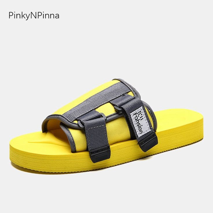 Summer men beach slippers candy yellow red color soft thick flat bottom side buckle flip flops indoor holiday street slides