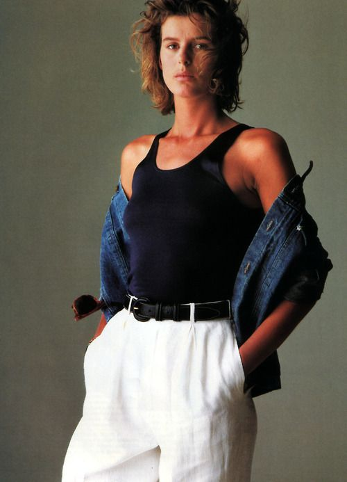 Josie Borain photographed by Gilles Bensimon for Elle magazine, September 1986. Clothing by Calvin Klein.