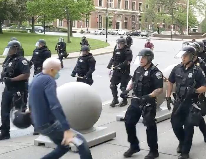 Buffalo Police Pushed Man Causing Fall Graphic Video Shows Police Man Guy Gifs