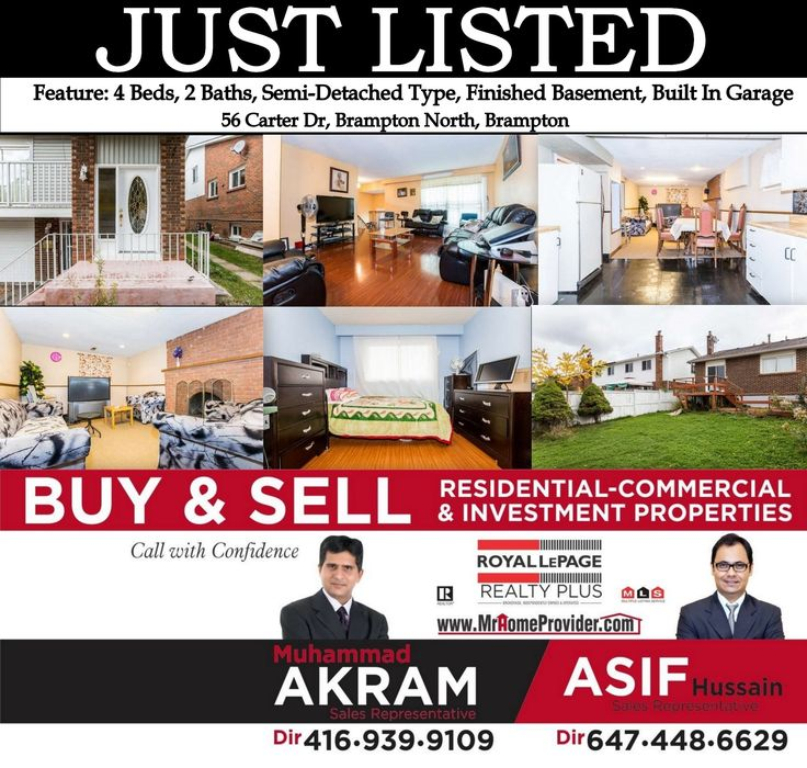 Residential for Sale In Brampton In Price: $400,000 For Showing Please Call (905) 712-2121 & 416 939-9109 http://www.mrhomeprovider.com/56-carter-dr-w3344532