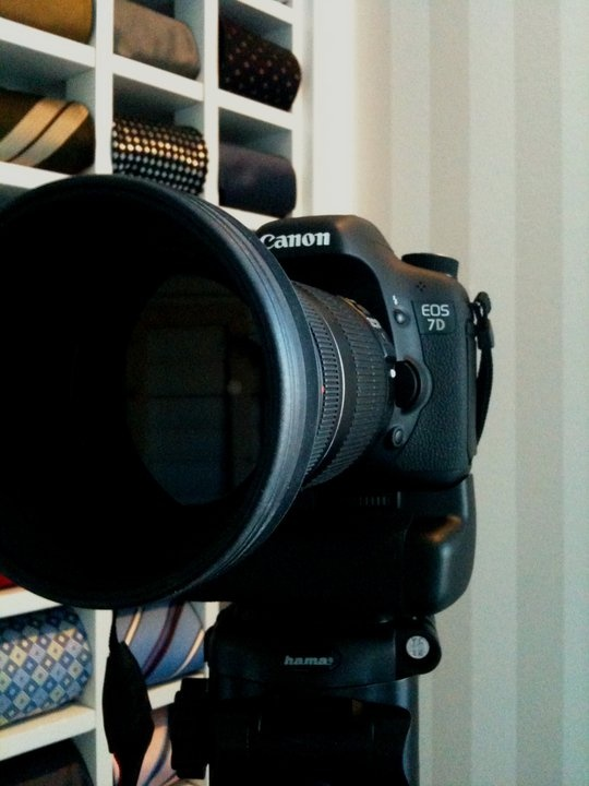 """Just recently bought a Canon 7D. Behind the camera is my tie shelf I built. You can see it in a bigger picture on """"My dream house project"""""""