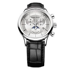 Maurice Lacroix men's black leather strap watch featuring stainless steel case and polished silver dial featuring moonphase sub dial and date function.