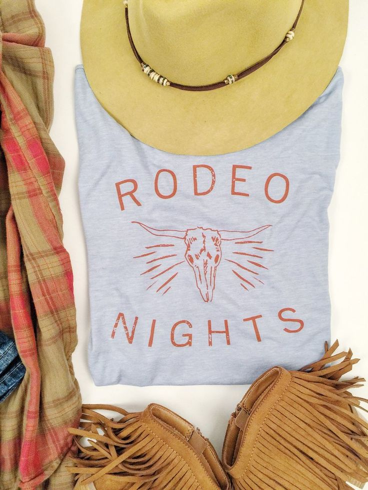 Rodeo Nights Tee Perfect for them summer Rodeo Nights!  Western Fashion. Rodeo Road.