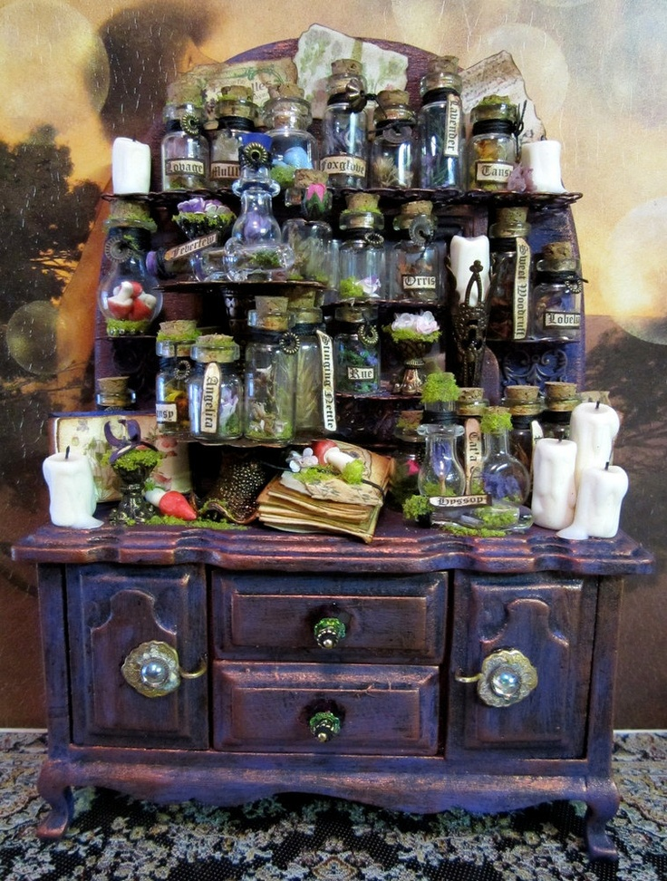 Botanical ooak Cupboard dollhouse miniature in 1/12 scale