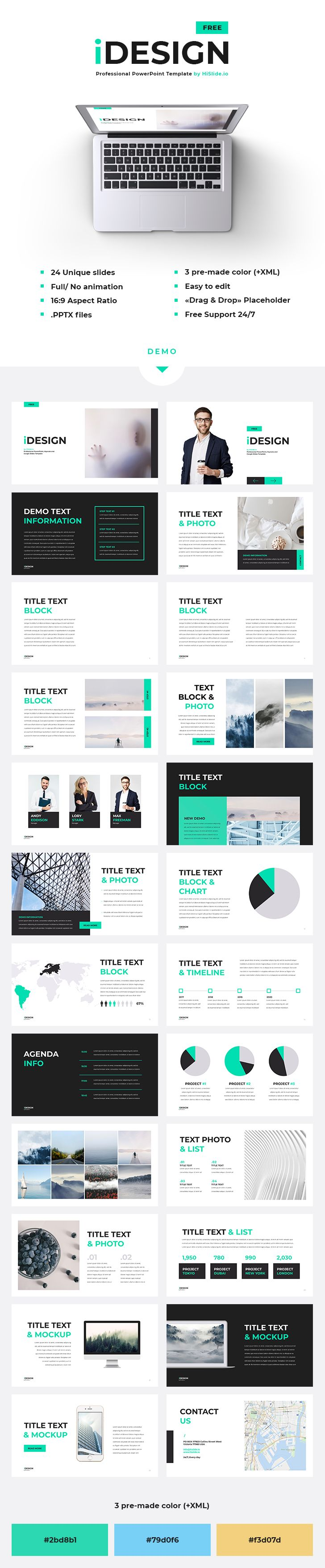 7 best free powerpoint templates on behance images on pinterest idesign free powerpoint template 24 unique slides 3 pre made color xml files full no animation easy to edit drag drop placeholder toneelgroepblik Images