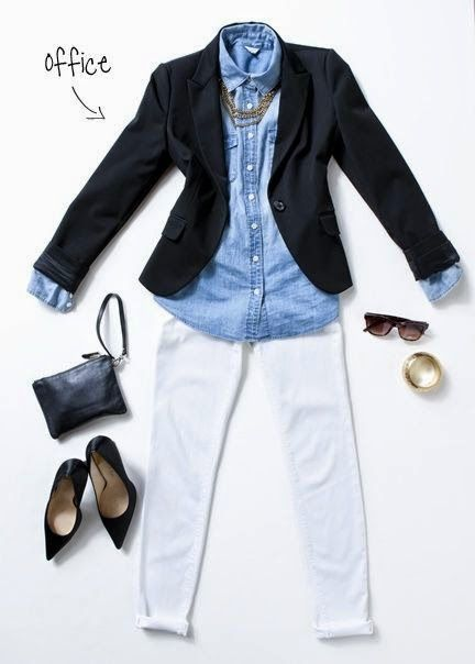 black blazer, chambray shirt, white pants and black pumps.