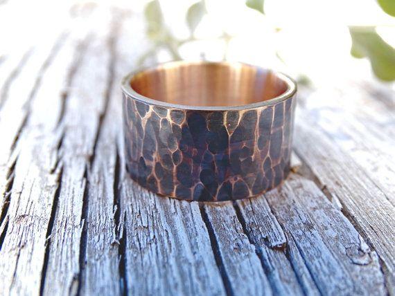 men's ring bronze hammered bronze ring cool mens by CrazyAssJD