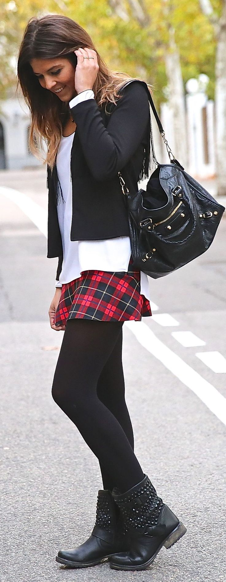 Red Multi Tartan Mini Skirt by TrendyTaste