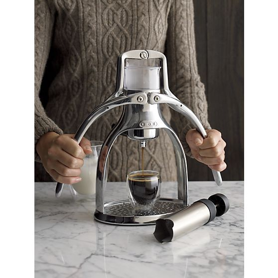 This hands-on, environmentally friendly manual espresso maker from Rok features an iconic design in gleaming, engine-grade metal that extracts a true espresso without the need for electricity. You control the pressure using the manual espresso maker's butterfly handles to extract maximum oils from any ground coffee, allowing you a wider range of choices than capsules and pods.