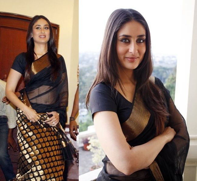 Actress Kareena Kapoor wears a Black Chanderi Cotton Saree. Black will always mesmerize.
