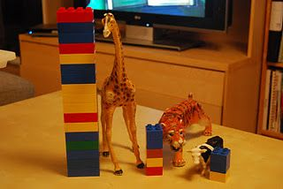 measuring heights of different animals using Legos