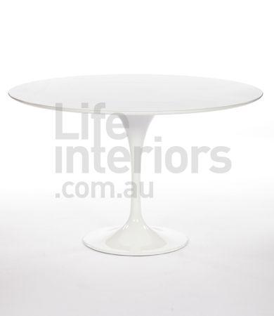 Replica Tulip Round Polyurethane Dining Table - 120cm (Black and White)