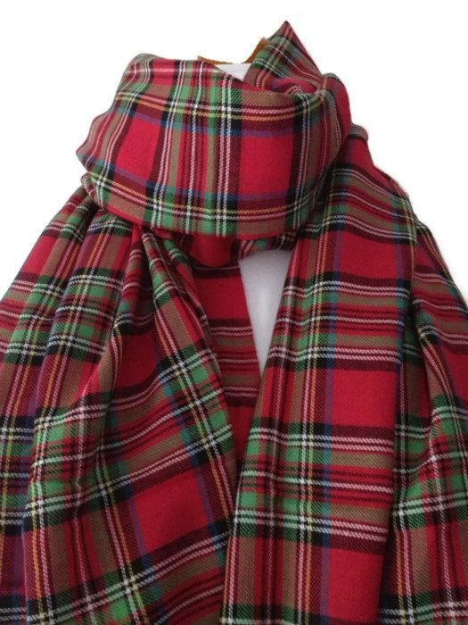 A large ladies or mens scarf / wrap in  Royal Stewart  Tartan , an authentic Tartan print registered at the Scottish Tartan Registry . The scarf