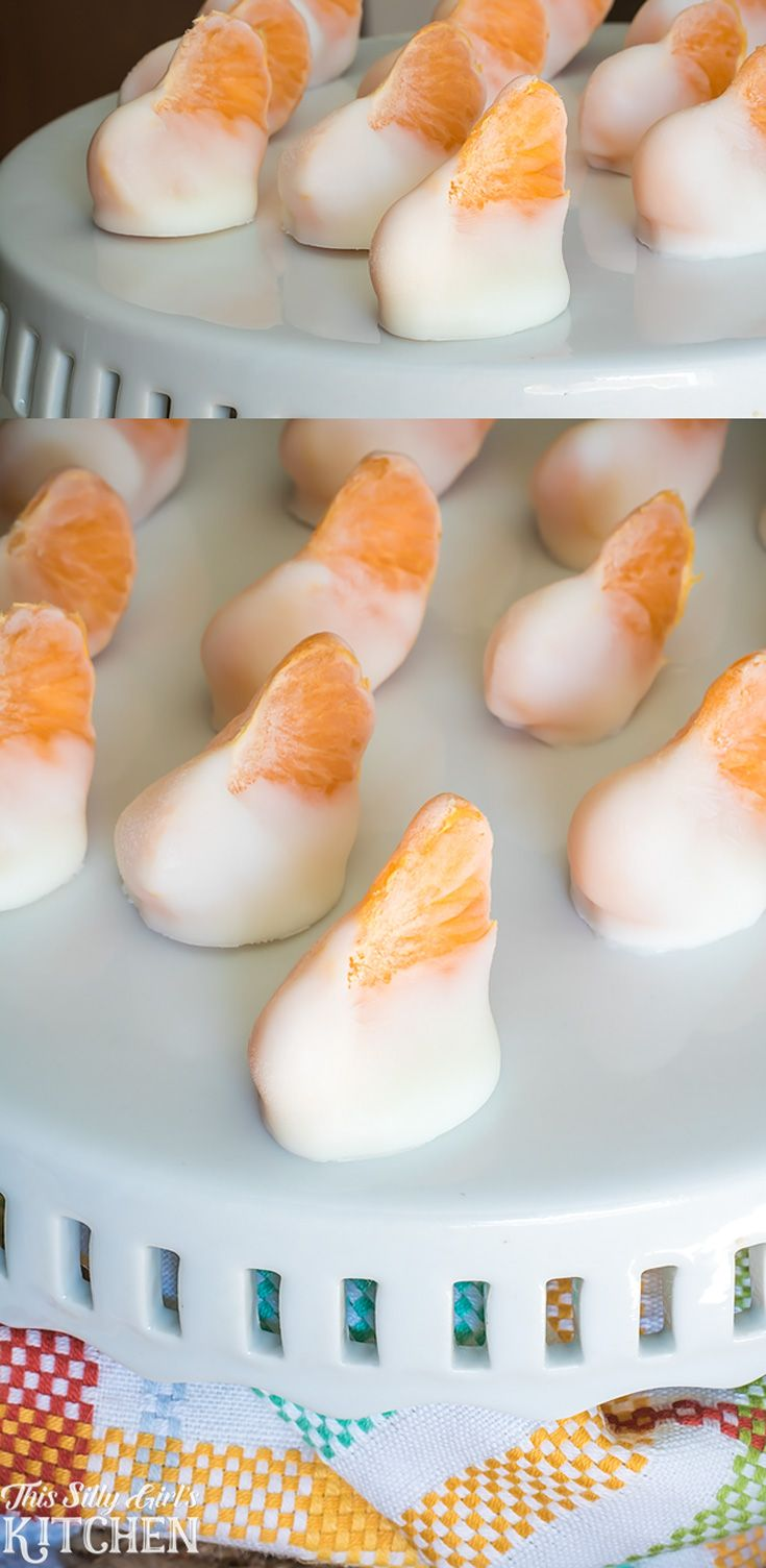 Creamsicle Yogurt Bites, clementines dipped in vanilla yogurt and frozen for a fun, healthy snack!