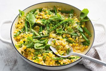 Miso and spring vegetable risotto